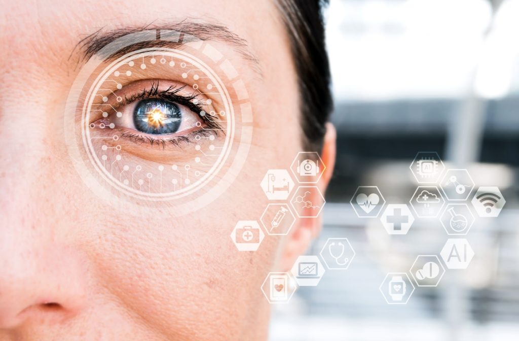Close up of women's eye with futuristic design to show different eye disorders and diseases.